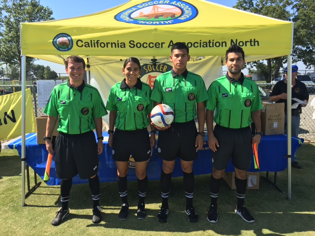 Amateur State Cup Final (left to right): Leon Hill (AR1), Adriana Contreras (4th), Victor Rivas (Referee), Imran Meskienyar (AR2)