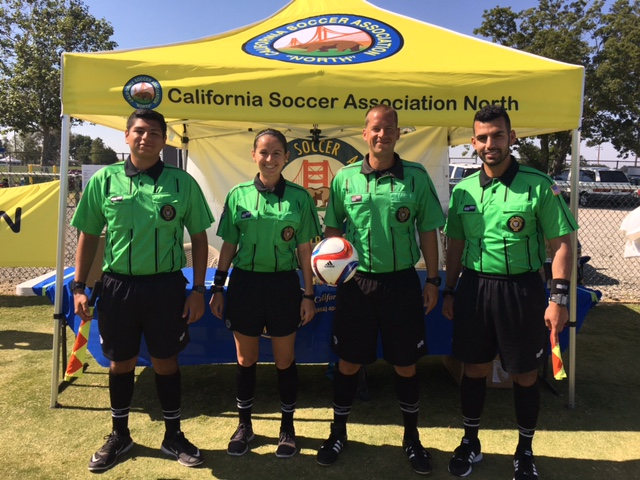 Amateur State Cup Junior Final (left to right): Chris Gomez (AR1), Jamie Padilla (4th), John Tuggle (Referee), Omid Azadpour (AR2)